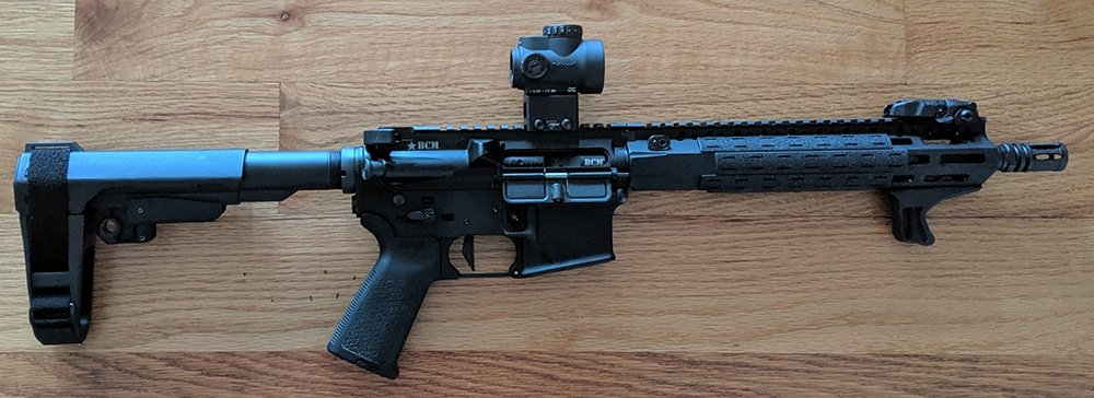 Trijicon MRO on AR-15 Pistol (BCM Upper MCMR Recce with 11 Inch Barrel. Spike's Tactical Lower with SBA3 Pistol Brace and Geissele Super Dynamic Enhanced Trigger